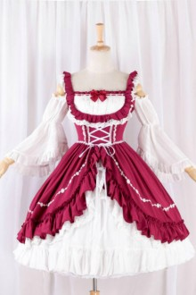 Red and White Elegant Sweet Lolita Dress