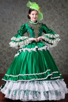 White Lace Green Trumpet Sleeve Palace Style Lolita Prom Dress