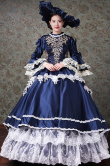 Lace Embroidery Navy Blue Palace Style Lolita Prom Dress