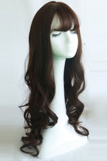 Brown Curly Hair Wig Large Wavy Air-bangs Long Curly Hair Lolita Wig 3 Colors