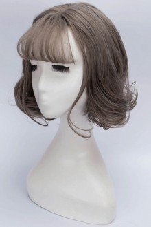 Gray Air Bangs Short Curly Hair Lolita Wig