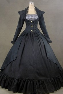 Black Palace Style Retro Long Sleeve Gothic Classic Lolita Prom Dress