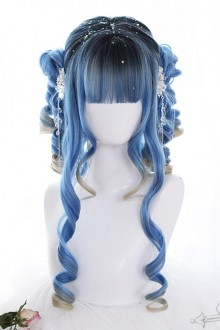 Blue Ancient Rome Curly Hair Gradient Lolita Wigs
