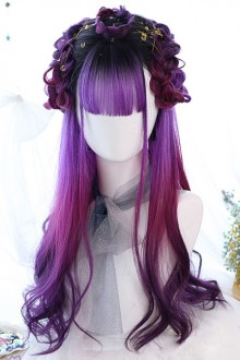 Purple Gradient Air Bangs Long Curly Hair Gothic Lolita Wigs