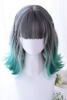 Gray Gradient Green Irregular Micro Roll Sweet Lolita Wigs