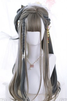 Linen Gray Highlight Hair Micro Curly Long Hair Classic Lolita Wigs