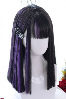Purple Air bangs Medium length Hair Gothic Lolita Black Wigs