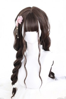 Dark Tea Air bangs Water Ripple Long Curly Hair Classic Lolita Wigs