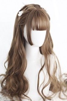 Air bangs Hime Cut Long Curly Hair Classic Lolita Wig 4 Colors