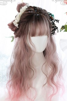 Air bangs Long Curly Hair Pink Gradient Sweet Lolita Wigs