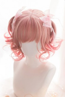 Pink Gradient Air Bangs Short Curly Hair Sweet Lolita Wig