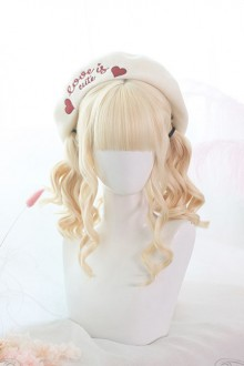 Air Bangs Golden Medium Curly Hair Classic Lolita Wig