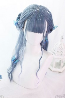 Blue Purple Gradient Mermaid's Tears Long Curly Hair Lolita Wigs