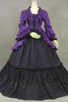 Purple & Black British Style Gorgeous Palace Style Lolita Prom Dress
