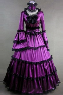 Matte Satin Lace Gothic Lolita Prom Dress