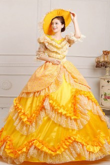Yellow Satin Lace Lolita Prom Dress