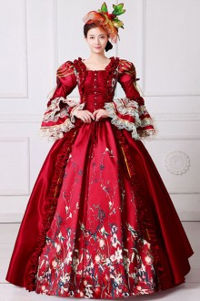 Rose Red Queen Of England European Retro Court Lolita Prom Dress