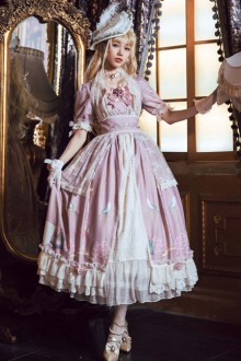 The Poetry Of Roses Elegant Short Sleeves Long Classic Lolita Dress