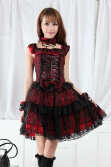 Red And Black Lolita Lace Sleeveless Gothic Lolita Dress