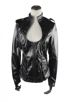 Punk Black Sexy Low-cut Jacket Thin Military Uniform Leather Jacket