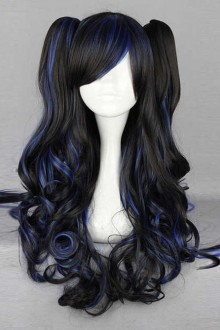 Black Highlights Long Blue Wavy Hair Curly Cosplay Lolita Wig