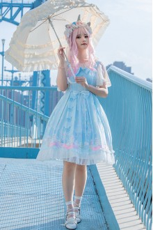 Light Blue Pussy Cat Garden Sweet Plus Size Lolita JSK Dress