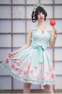 Cherry Blossoms Feather Two-piece Sweet Plus Size Lolita JSK Dress