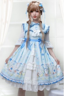 Light Blue Lemon Duck Sweet Plus Size Lolita OP Dress