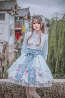 Chinese Style Embroidered Girdle Long Sleeves Sweet Qi Lolita OP Dress