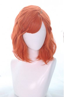 Orange Medium long Curly Hair Air Bangs Lolita Wigs