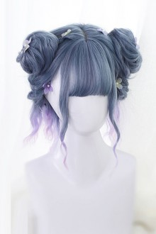 Blue Curly Hair Gradient Short Curly Hair Lolita Wig