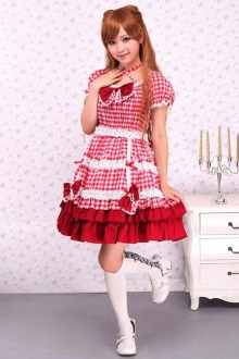 Cotton Short Sleeves Red Plaid Ruffle Sweet Lolita Dress