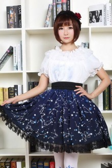 Sweet Dark Blue Constellation Lolita Pleated Skirt SK