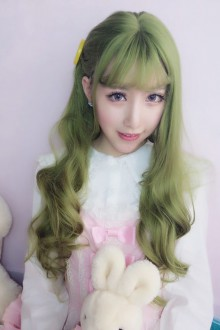 Harajuku Lolita Green Wig Female Long Curls Lovely Nature Wig