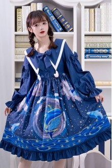 Dark Blue Nebula Whale Printing Sweet Lolita OP Dress