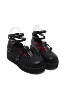 Soft Sister Black Doll Shoes Round-toe Student Cute Platform Shoes