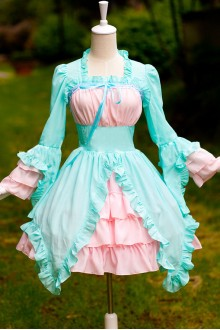 Mint Green And Light Pink Chiffon Irregular Hem Sweet Lolita Dress