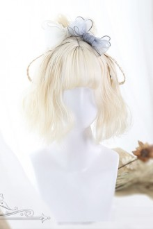 Milk White Short Curly Wig With Bangs
