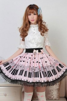 Sweet Pink Piano Keyboard Lolita Skirt