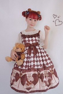Scepter and Bear Printing Sweet Lolita JSK Dress