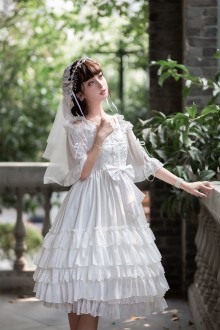White Elegant Flower Wedding Lolita OP Dress