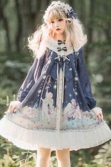 Little Prince Series Printing Bowknot High Waist  Long Sleeve Sweet Lolita OP Dress
