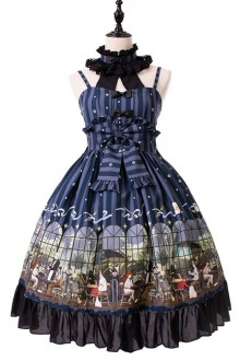 Magic Tea Party Garden Restaurant Series Bowknot Sweet Lolita Sling JSK Dress