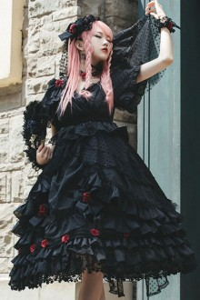 Swan Lake Series Lace Short Sleeve Gothic Lolita Dress