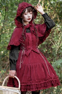 Danube Lovers Series Ruffle Corduroy Autumn Winter Classic Lolita  Sling Dress