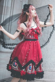 The Split Love Series Rose Red Sling Gothic Lolita Dress
