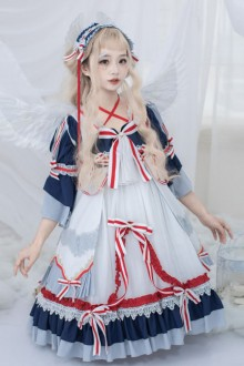 Snow White Series OP Navy Palace Style Short Sleeve Classic Lolita Dress