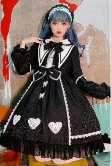 Alice Story Doll Collar Heart Shaped Bowknot Gothic Lolita Dress
