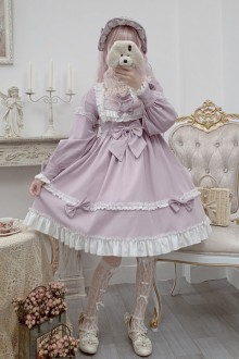 Original New Taro Milk Tea Pastel Long Sleeve Princess Sweet Lolita Dress