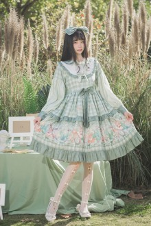 Original Long Sleeve Student Light Green Sweet Lolita Dress